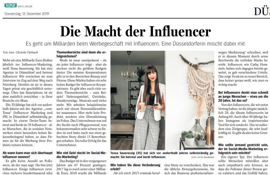 .comTessa Influencer Agentur - Referenzen - Rheinische Post Print Ausgabe