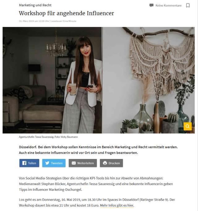 .comTessa Influencer Agentur - Referenzen - Rheinische Post - Ankündigung Workshop für angehende Influencer