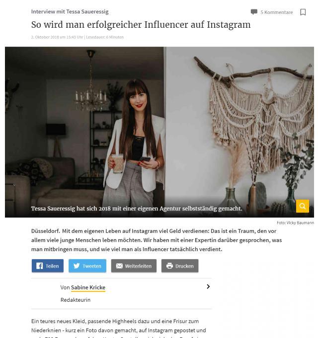 .comTessa Influencer Agentur - Referenzen - Rheinische Post Online Ausgabe